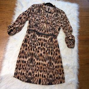 Tab Sleeve Leopard Print Belt Tie Shift Dress